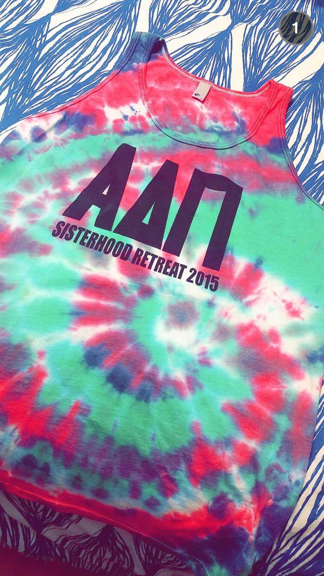 sorority sisterhood retreat tie dye t shirt activity adpi