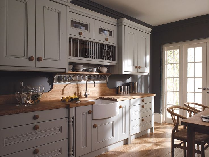Alluring Grey Kitchen Design Inspirations Enthralling Shaker Style Kithcen With Wooden Countertop And White Cabinet Also Brick Pattern