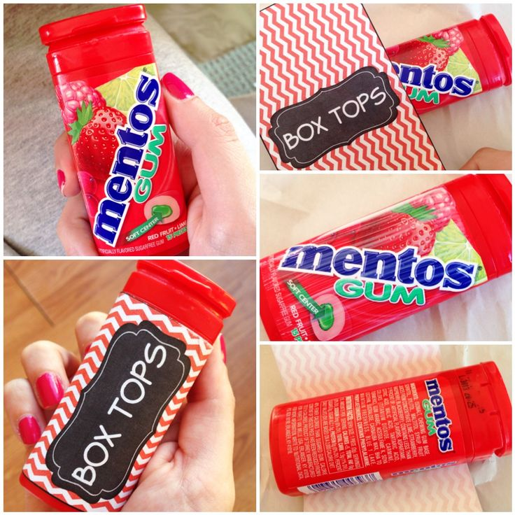 BOX TOP storage idea! Instead of throwing away your empty Mentos gum containers, turn them into holders for BOX TOPS! All you need is a few Mentos containers and you can put one in each table basket in your classroom.