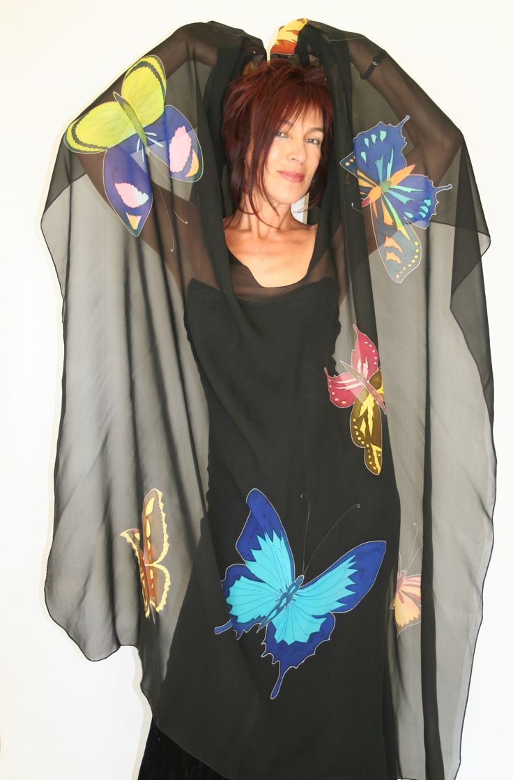 Butterflies - Hand painted silk cape by Natasha Foucault, represented by Human Arts Gallery in Ojai, CA.