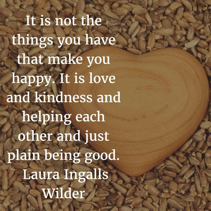 It is not the things you have that make you happy. It is love and kindness and helping each other and just plain being good. — Laura Ingalls Wilder, novelist