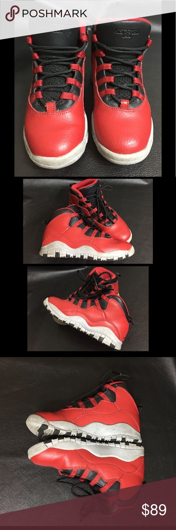 Nike Air Jordan Retro 10 X Bulls Over Broadway Authentic Nike Air Jordan Retro 10 X Bulls Over Broadway Gym Red  ·Material: upper leather  • Size US 13C / UK 12.5 EUR 31 CM 19 • Preloved / Lots of use left Nike Shoes Sneakers