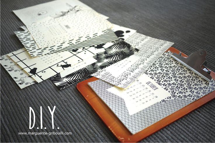 Marguerite & Gribouilli 2015 calendar D.I.Y. free template