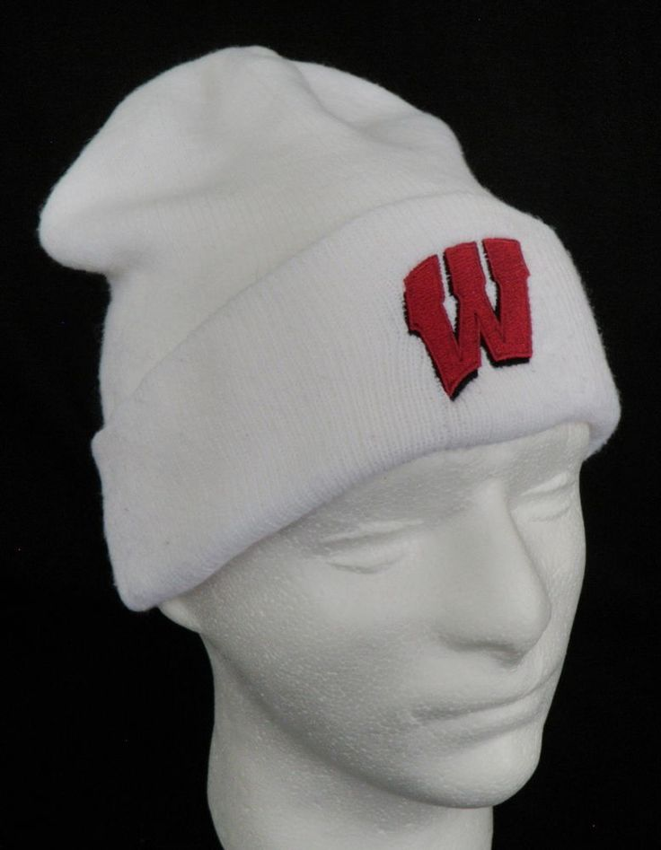 Adidas Wisconsin Badgers Vintage Ski Hat Knit Cap Beanie White Red Embroidered #Adidas #WisconsinBadgers #bucky #beanie #skihat #vintage #wisconsin #onwisconsin
