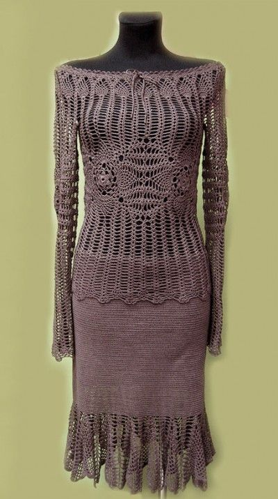 fringed crochet skirt | crochet skirt and blouse 400x716 100 Unique Crochet Skirts