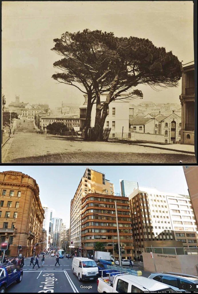 Corner of Bridge and Young St's Sydney looking west circa 1875 and in 2015. [c1875- National Library of Australia > 2015-UndrCarbonSkies/Pyrmonstrosity Pyrmontosis]