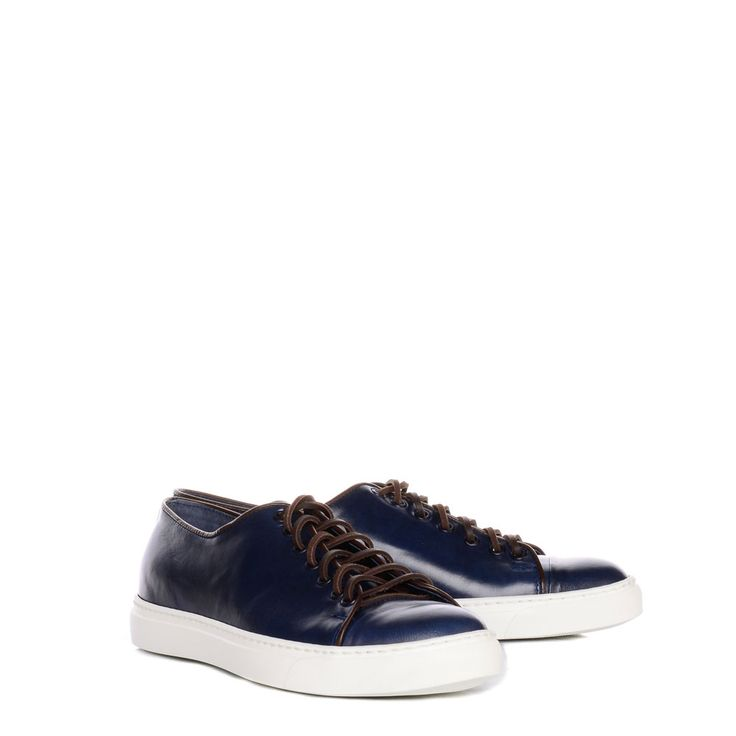 CLASSICO UOMO CASUAL SHOES. With suede upper, laces and rubber sole. In Blue,Tan.