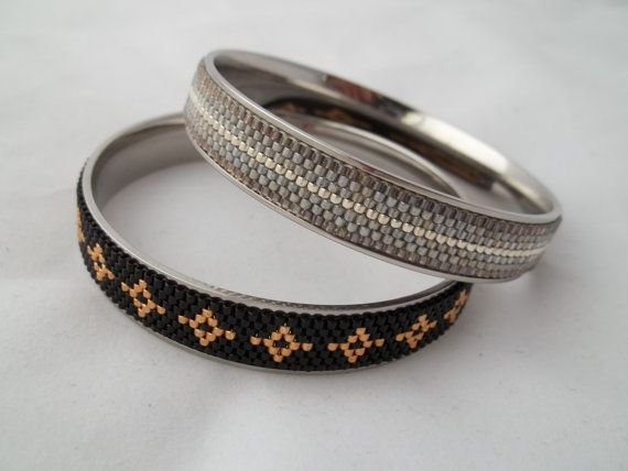 Stainless steel channel bangle bracelet with by MilenasBoutique