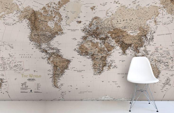 earth tone world map mural wallpaper art pinterest. Black Bedroom Furniture Sets. Home Design Ideas