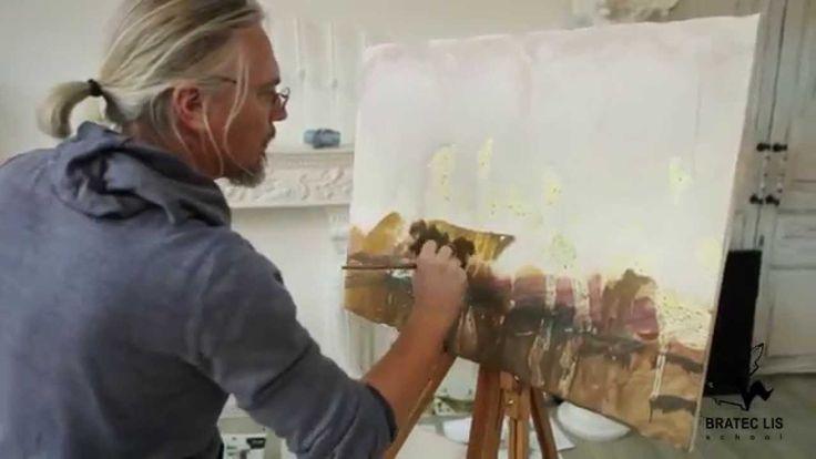Александр Воцмуш создаёт картину на мастер классе в Bratec Lis School