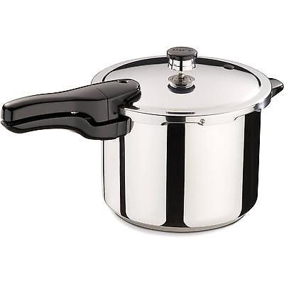 Pressure Cooker Pot  6 Quart Stainless Steel Canner Kitchen Fast Cover Lock New