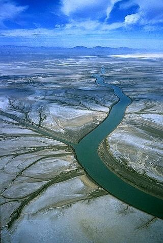 Delta of the Colorado River as discharges into the northern end of the Sea of Cortez, from the north