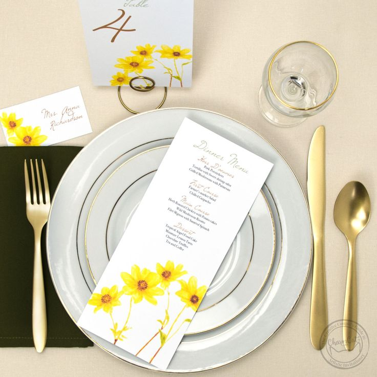 Bring the charm with these yellow daisy day of stationery items. Table numbers, menu cards, and place cards. | Wedding Invitations by CharmCat Stationery & Design