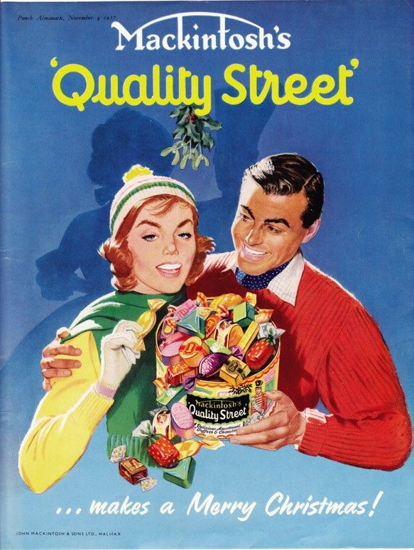 1957 candy ad Mackintosh's Quality Street vintage sweets Christmas advert. Still eat them now every Christmas- it's a tradition!