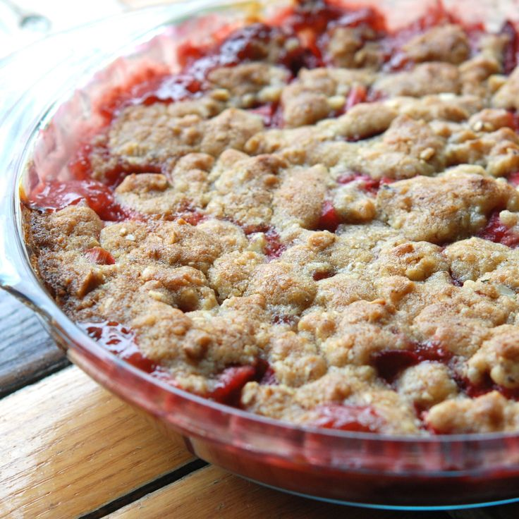 This easy, homey dessert from Andrew Zimmern pairs the quintessential early-summer combo of sweet strawberries and tart rhubarb with a nutty, buttery, cookie-like topping.
