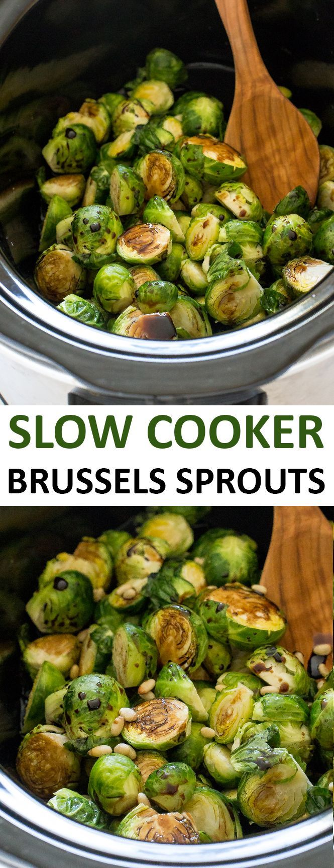 Super Easy Slow Cooker Balsamic Brussels Sprouts. Vegan without the parmesan