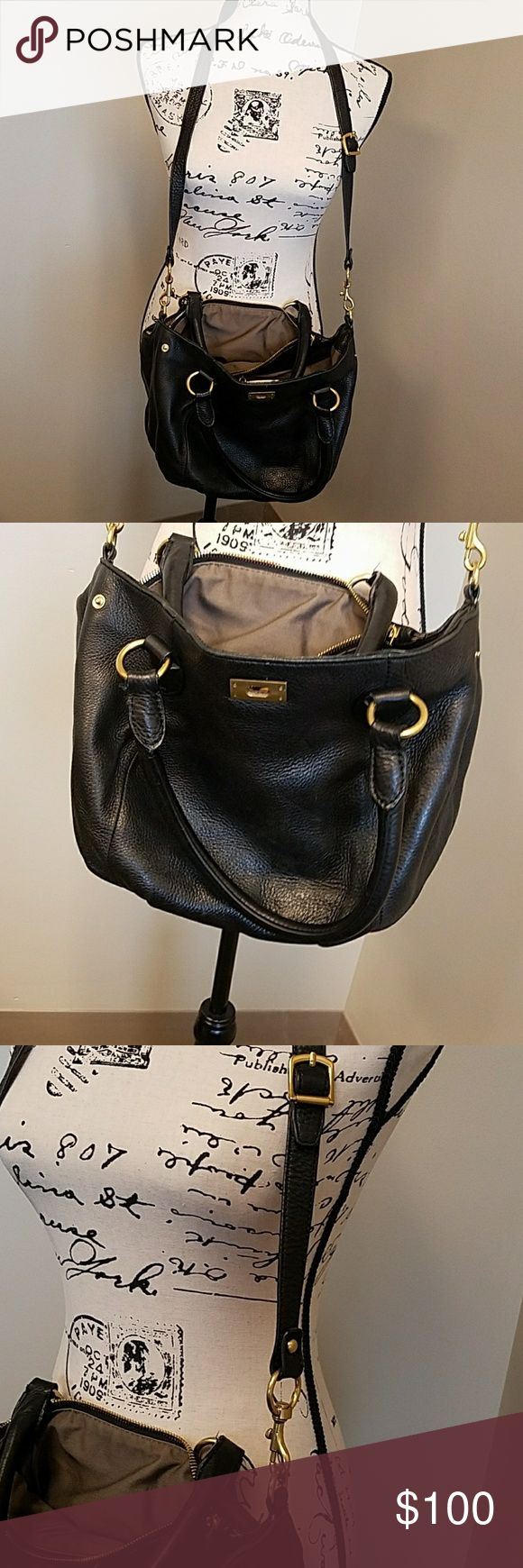J. Crew black leather hobo bag J. Crew black leather hobo bag. Crossbody with short handles. Gold clasp and zipper. Two sections inside. Front section has two pockets up front and one zippered pocket in the back. Gently used. J. Crew Bags Hobos