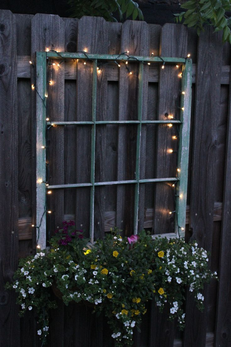 My window box planter beneath an old window frame. It adds some interest to the fence - especially with the new solar LED lights at night.
