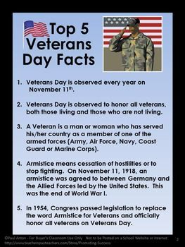 FREE Veterans Day: In this free printable PDF worksheet, you will receive the Top Five Facts of Veterans Day. Also included is a link to a Veterans Day free website available to assist your elementary students in further researching Veterans Day.  https://www.teacherspayteachers.com/Product/Veterans-Day-Free-Download-Social-Studies-US-History-November-Activities-1523800