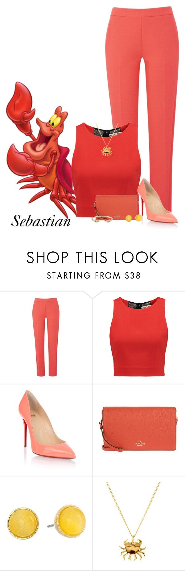 """""""The Little Mermaid: Sebastian"""" by casualchica on Polyvore featuring Amanda Wakeley, Alice + Olivia, Christian Louboutin, Coach, Kate Spade, Origami Jewellery, Les Néréides, disney, disneycharacter and casualchica"""