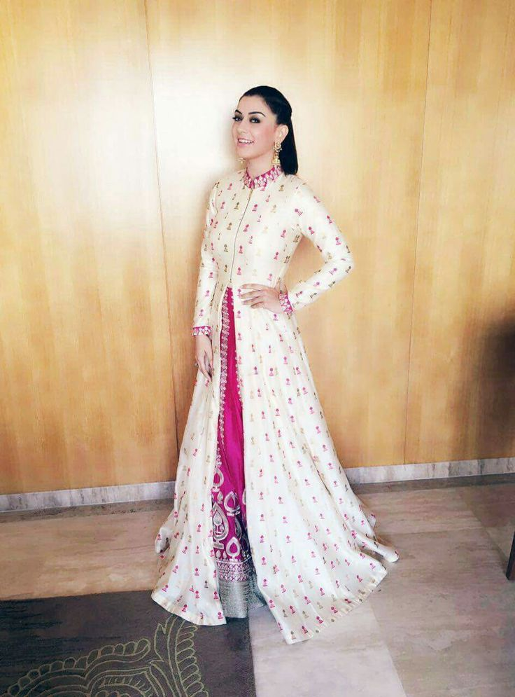 Hansika Motwani in sandstone moroccan print jacket paired with an intricate handcrafted persian rose lehenga