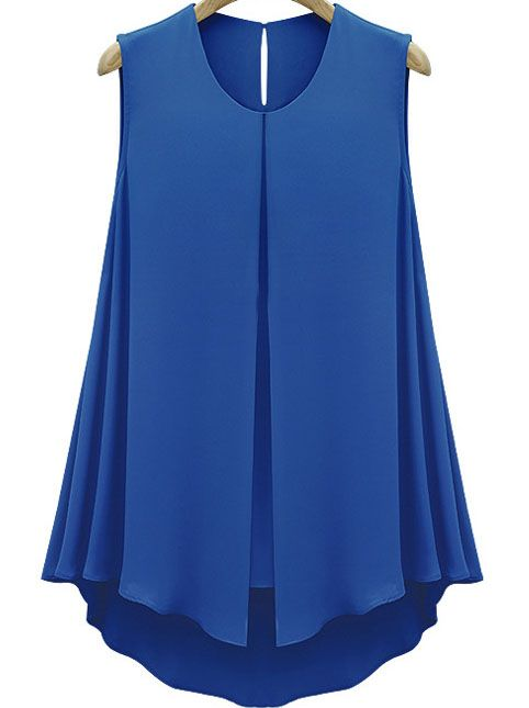 Blue Sleeveless Double Layers Chiffon Blouse - Sheinside.com