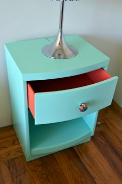 Turquoise and Coral Bedside Table. Drawers are a fun surprise.