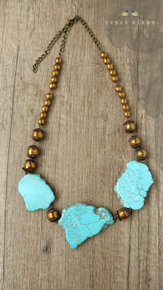 Handmade Necklace, Natural stones, Blue Howlite, Golden Hematite by UrbanBirdsUrbanBirds on Etsy