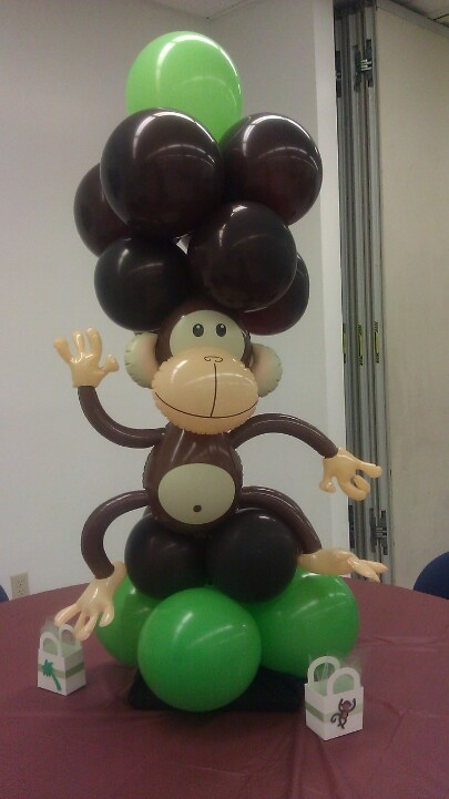Best 25 monkey centerpiece ideas on pinterest monkey themed baby shower jungle safari and - Monkey balloons for baby shower ...