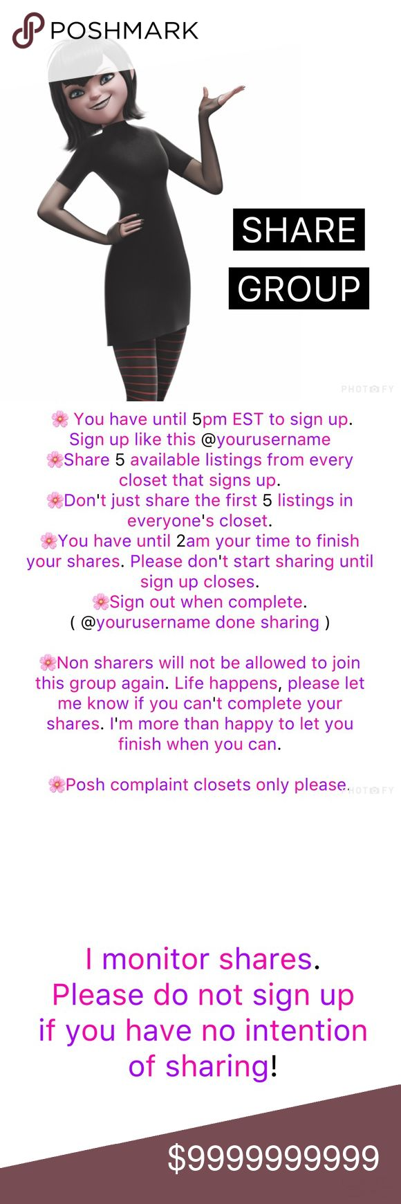 🖤 MONDAY (9/4) Share Group *This is for Monday (9/04)  *Sign in by tagging your username in the comments, not by liking this post. *Sign up closes at 5pm eastern time.  *Share 5 available listings from each closet that signs up.  *Feel free to request what you would like shared.  *No sharing until group is closed. *Please share this listing so others can see.   *Let me know what female character you would love to see next. Today's character is Mavis from Hotel Transylvania. Other