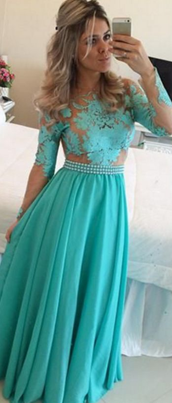 A-Line Evening Dress, Long Sleeve Evening Dress, Chiffon Evening Dress, Green Evening Dress, Latest Evening Dress, Lace Evening Dress, Applique Evening Dress, Open Back Evening Dress