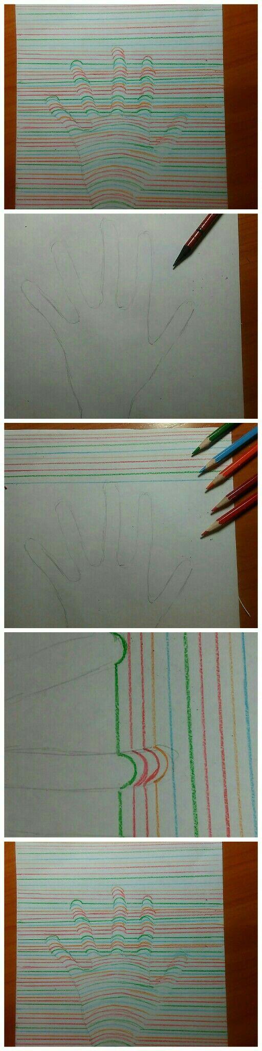 Рисуем 3D руку.  рисунок 3д рука руки карандаши цвет цветные карандаши восхитительно