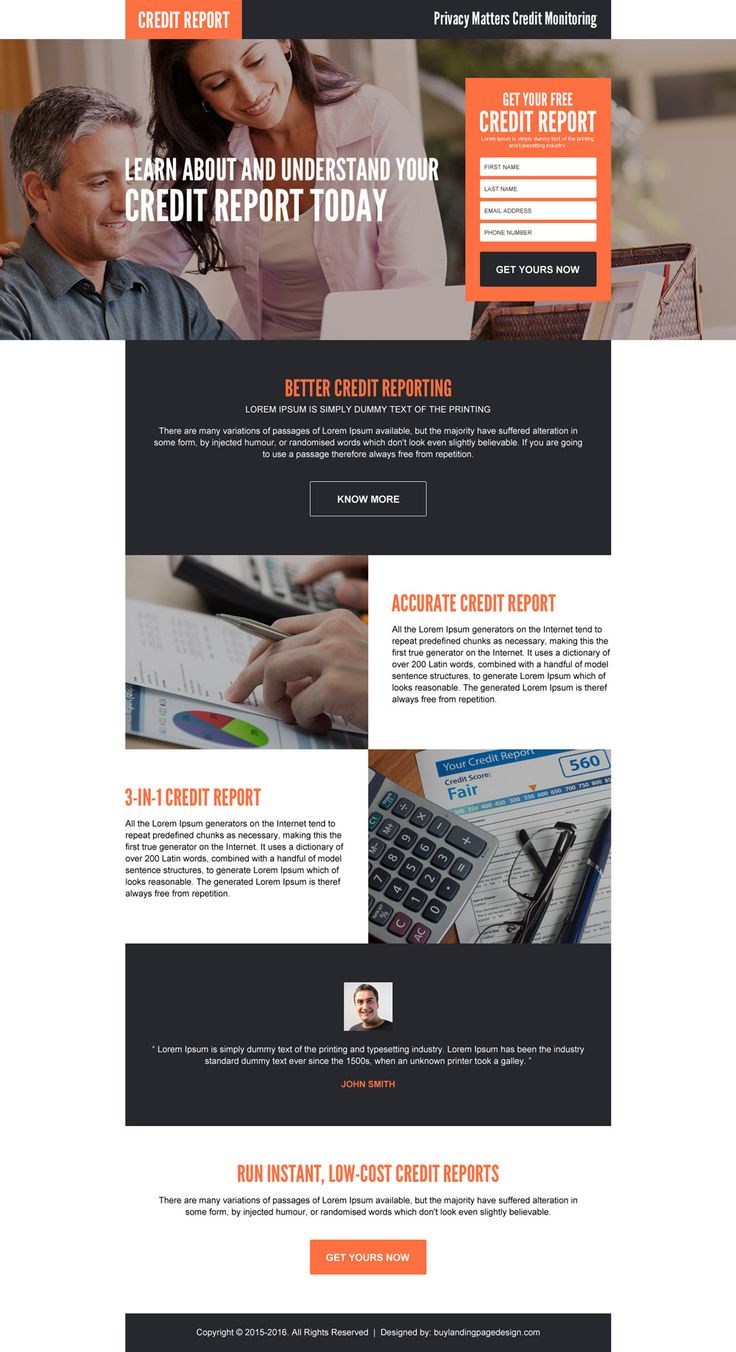 better and accurate credit report landing page design