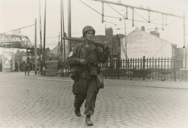 Airborne soldier walking next to the railway line in Eindhoven on the 18th September 1944. Market Garden