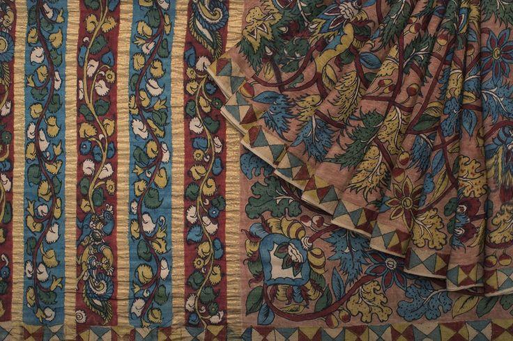 Creative Bee Handpainted Kalamkari Silk Cotton Sari 1021685 - Saris / Kalamkari - Parisera