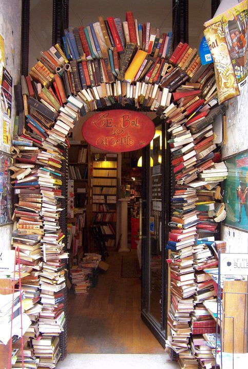 Entrance of a book store in Lyon, France