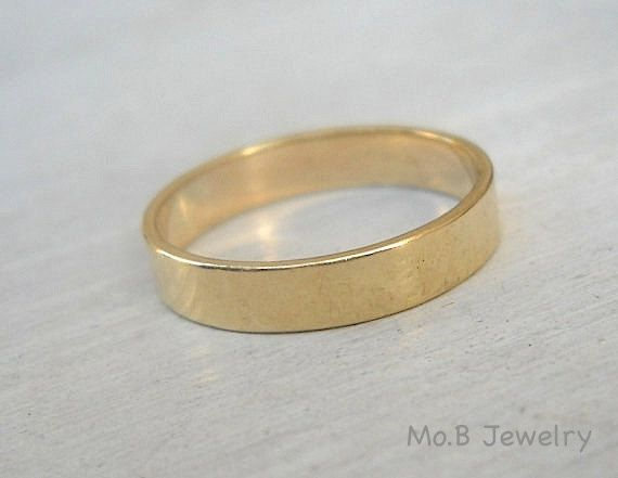 Men's wedding ring . Classic 14k Gold wedding band for men or women . Wide flat band. Simple wedding ring. handmade.