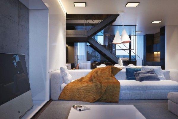 Cet appartement à Kiev, en Ukraine, affiche un intérieur élégant et moderne d'une superficie de 230 m². Le projet sera livré à une jeune famille qui aspire à une habitation confortable et contemporaine. Malgré une approche de conception minimaliste, l'endroit paraît vivant et accueillant. Cela est dû à l'éventail généreux de couleurs, de matières et de textures, sans compromis de style ou de fonctionnalité. L'appartement en duplex est centrée autour d'un salon et d'un salle à manger...