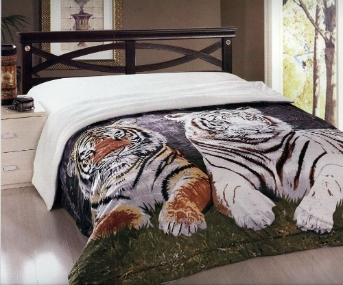 New Brown And White Twin Tiger Soft And Warm Borrego