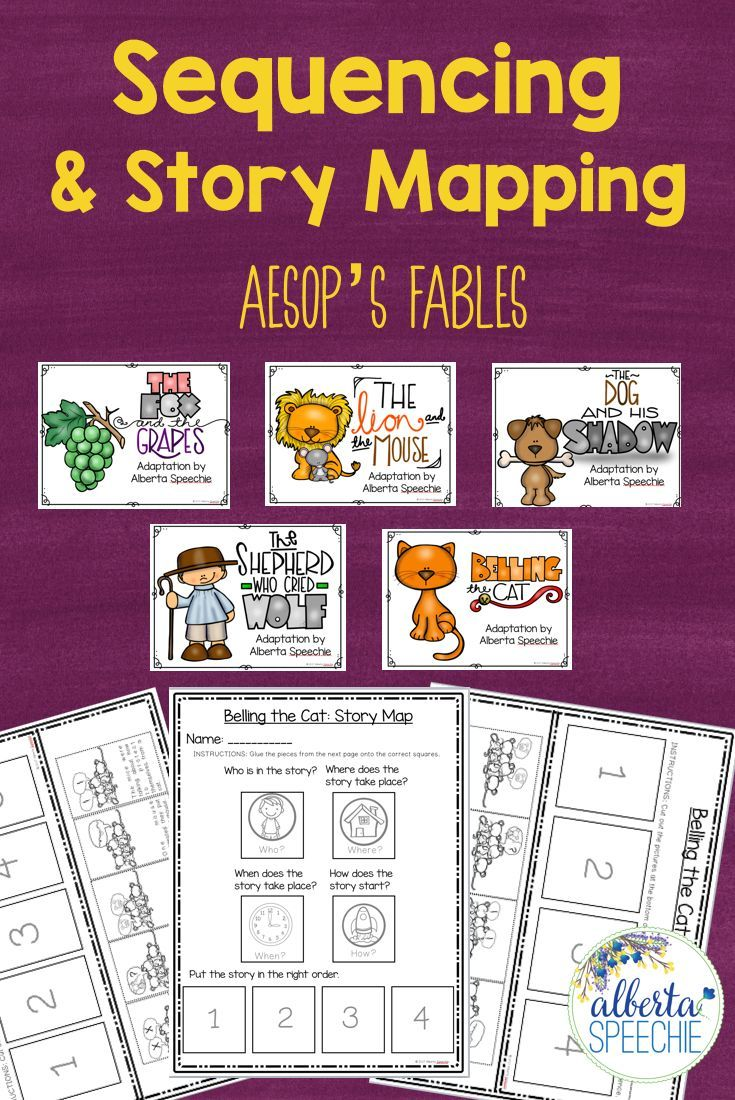 Work on story comprehension and sequencing with Aesop's fables. Stories included. $