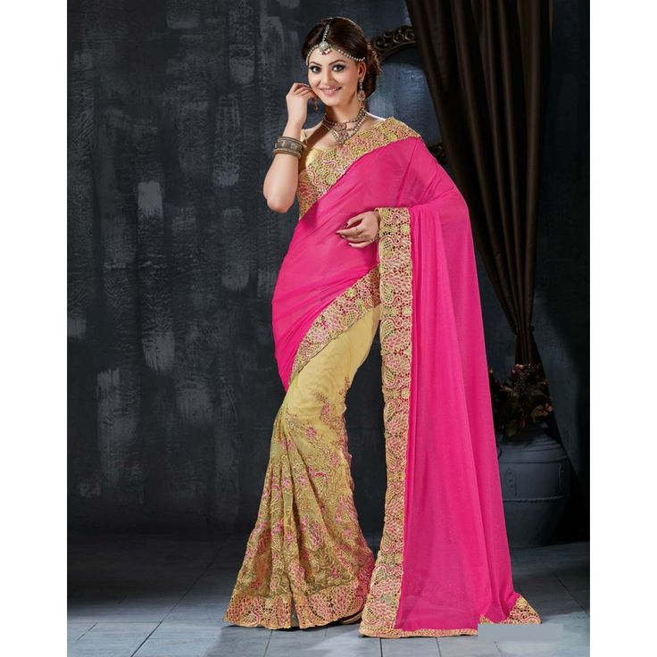 Urvashi Rautela Pink and Beige Net #Saree With Blouse- $131.50