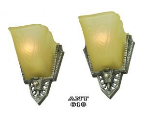 Art Deco Antique Wall Sconces Pair of 1930s Slip Shade Lights by Gill (ANT-618) #vintage #reproduction #recreation #antique #art #deco #nouveau #doorknob #hardware #lighting #unique #switchplate #victorian #hinge #brass #cast #metal #eastlake #windsor #shade #crystal #glass #electrical #cover #gang #plate #pendant #arts #crafts #mission #period #decor #rail #railing #rococo #romantic #beaux #newel #post #knight #induction #grow #heat #lamp #mortise #lock