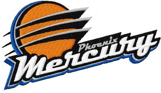 Phoenix Mercury logo embroidery design. Machine embroidery design. www.embroideres.com