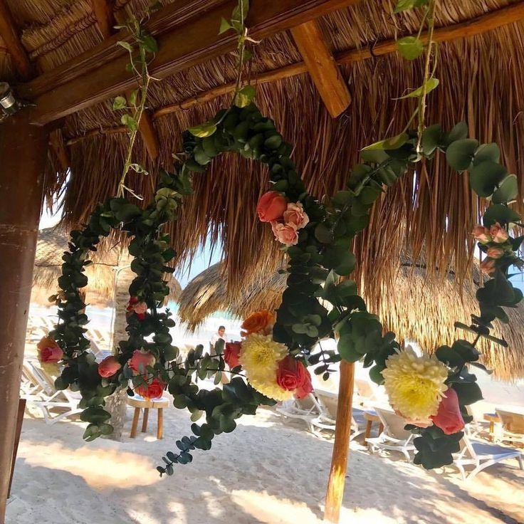 CBA144 wedding Riviera Maya hanging flower rings nice deco/ decoración de anillos de flores colgantes