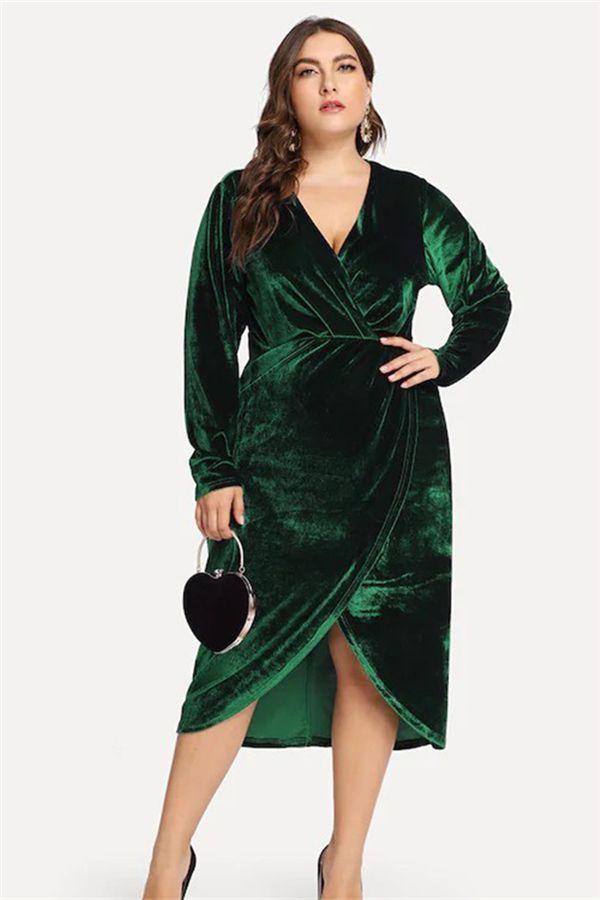 40a9145ce7 Plus Size V-Neck Long Sleeve Asymmetric Women s Maxi Dress in 2019 ...