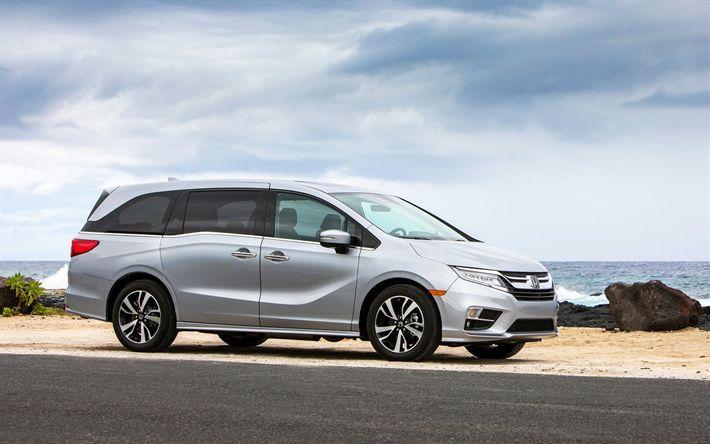 Scarica sfondi Honda Odyssey, 2018, un popolare minivan, la casa automobilistica Giapponese, grigio, nuovo Odyssey, Honda