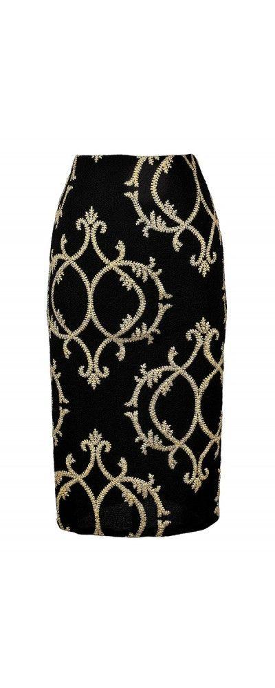 Fleur De Lily Black and Gold Pencil Skirt  www.lilyboutique.com