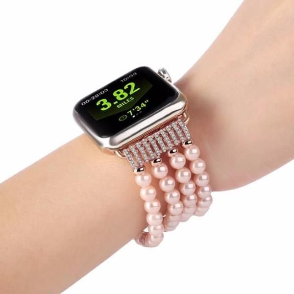 Apple Watch Series 6 5 4 3 2 Band Bling Stretch Strap Bling Pearls Fits 38mm 40mm 42mm 44mm Apple Watch Bands Fashion Watch Bands Apple Watch Wristbands