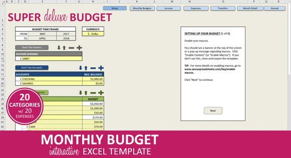 Super Deluxe Budget Excel Template Monthly Budget Spreadsheet