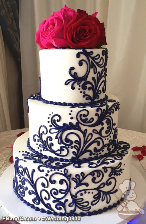 "Design W 0830 | Butter Cream Wedding Cake | 12""+9""+6"" 
